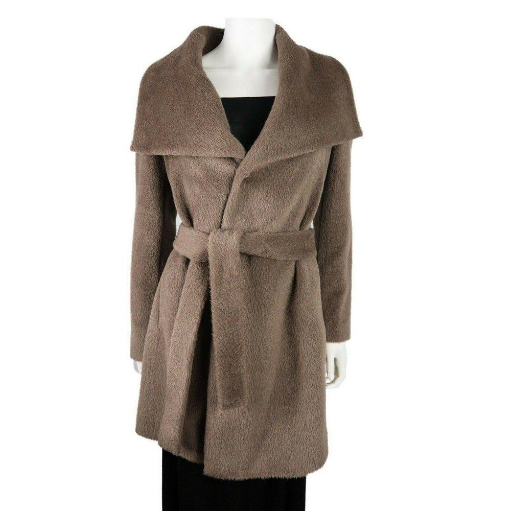 Dawn Levy - New - Hannah Taupe Brown Wool Collared Coat