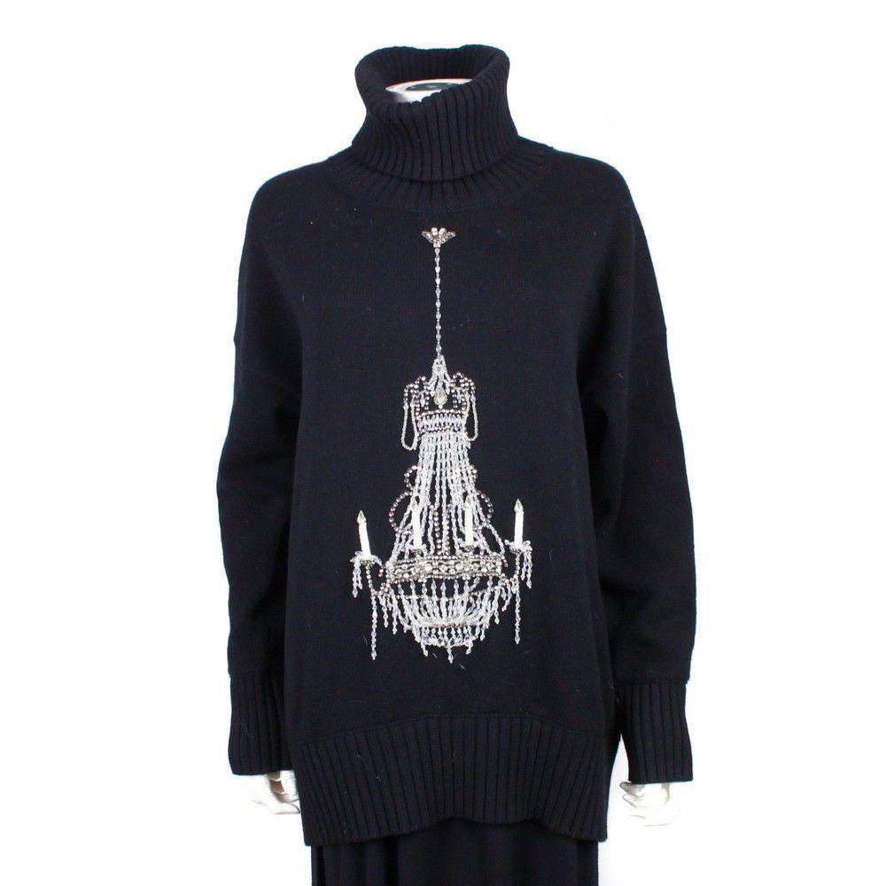 Dolce & Gabbana Chandelier Sweater - Black Turtleneck