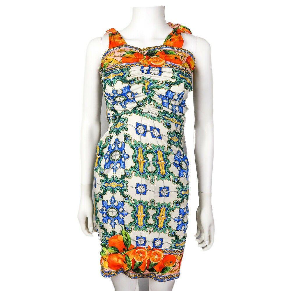 Dolce & Gabanna Dress - Majolica Print Straps - Orange