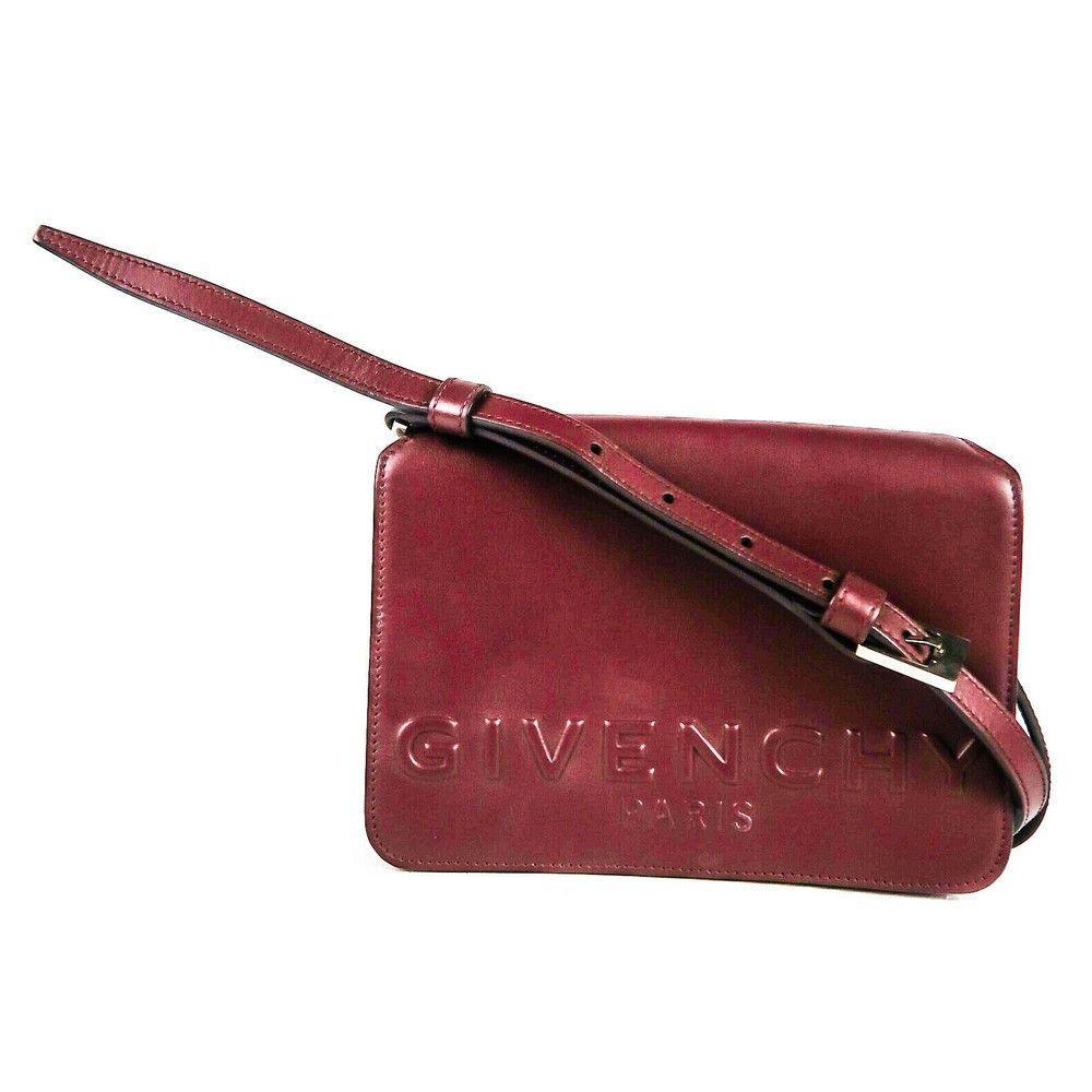 Givenchy - Logo Flap Crossbody Shoulder Bag - Burgundy