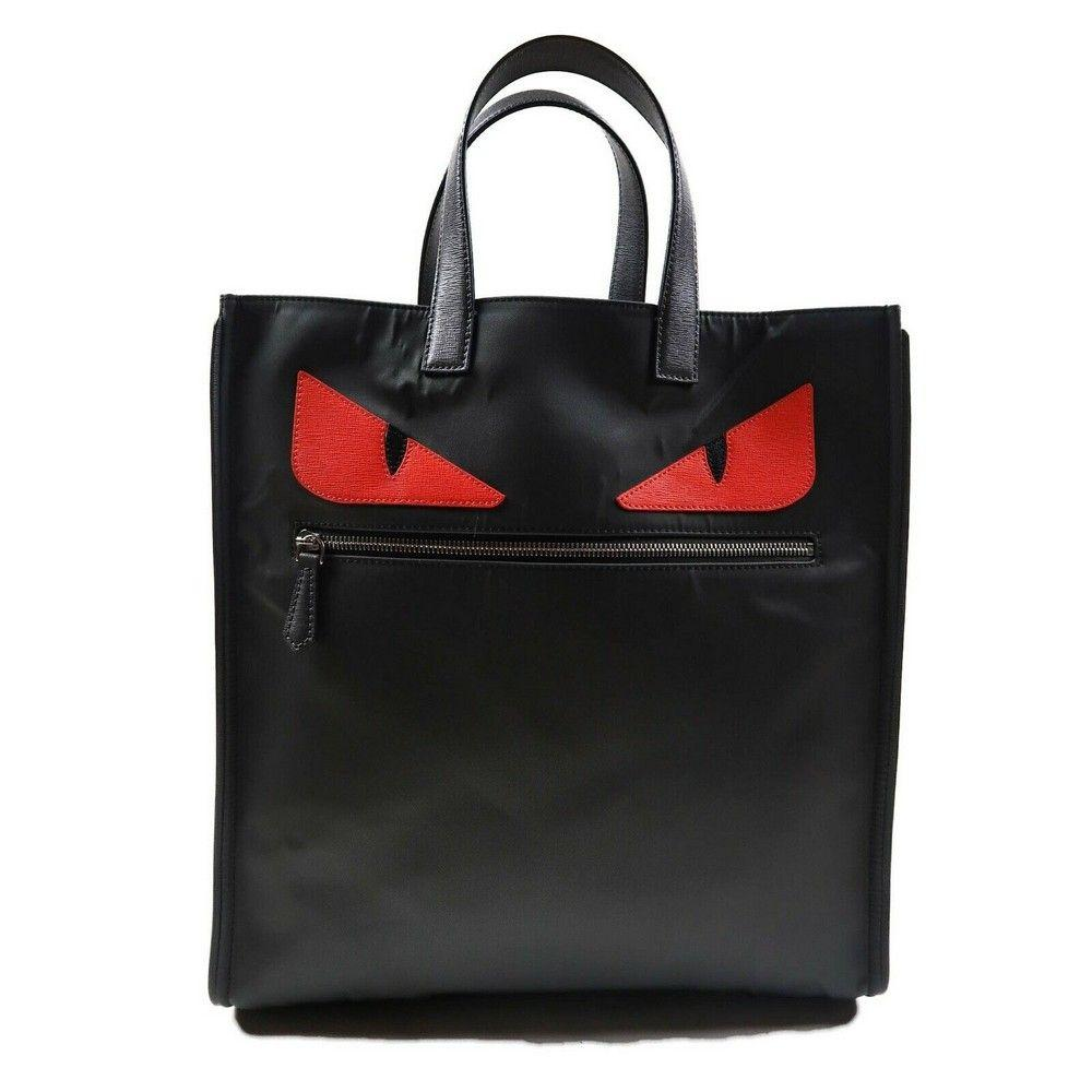 Fendi AUTHENTICATED Large Monster Tote Bag Red Face