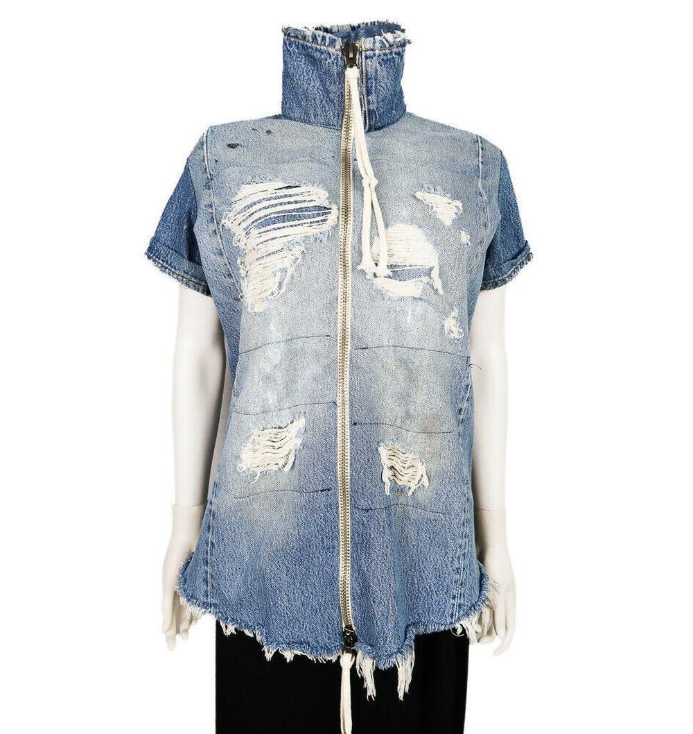 Greg Lauren - Denim Shirt Jacket Short Sleeve Zip Up -