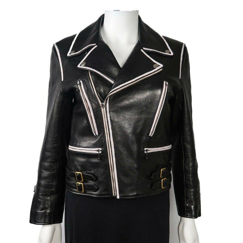 Gucci 2017  5K Black Leather Motorcycle Jacket - Womens