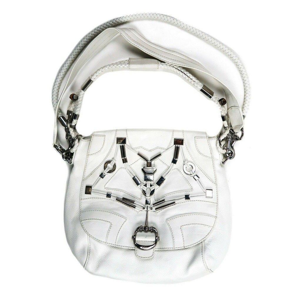 Gucci Large White Shoulder Bag Leather Multi Strap Flap