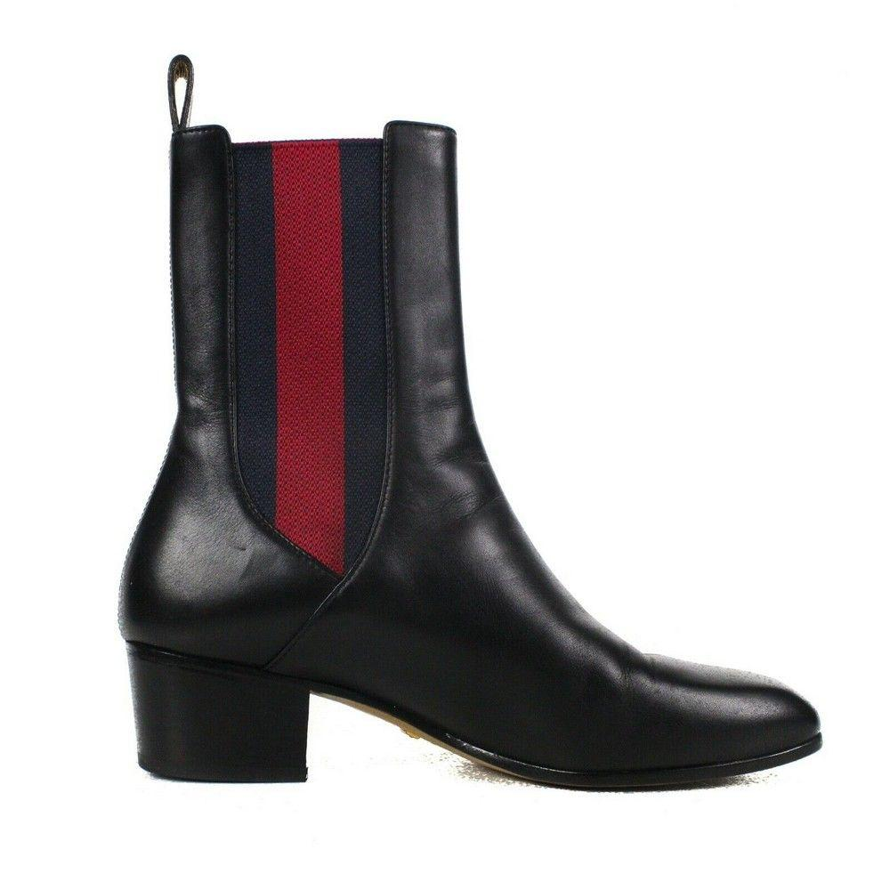 Gucci Striped Boots Black Leather Heel Shoes Red Blue -