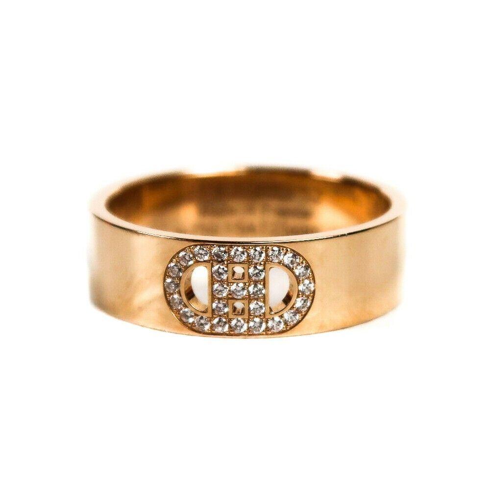 Hermes Diamond Ring - H d'Ancre - 18K Yellow Gold - H