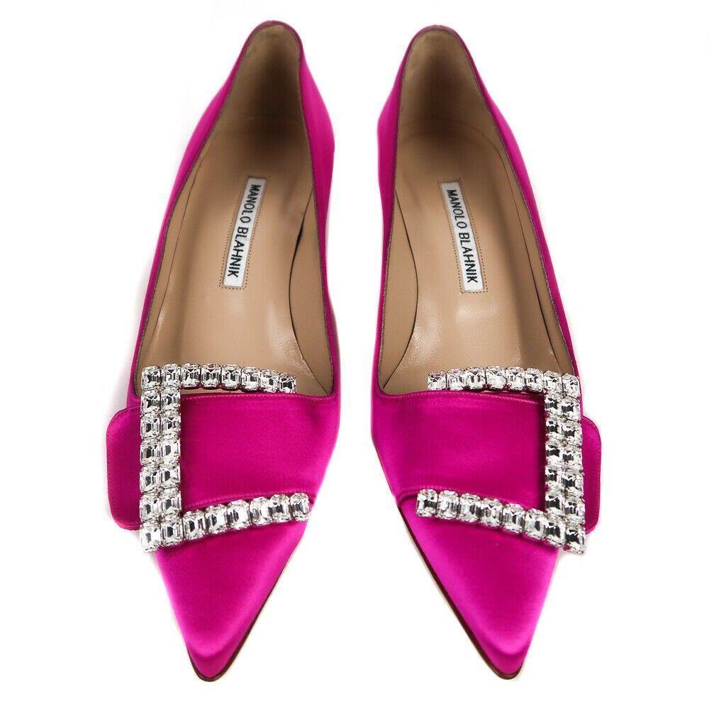 Manolo Blahnik New Murmanod 50 Pink Satin Crystal