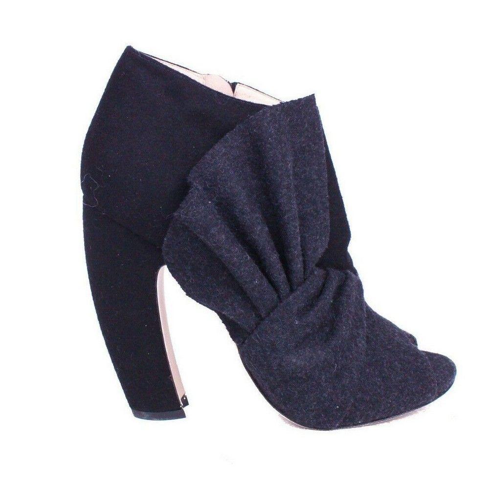 Miu Miu New Bow Booties Grey Wool Peep Toe High Heel
