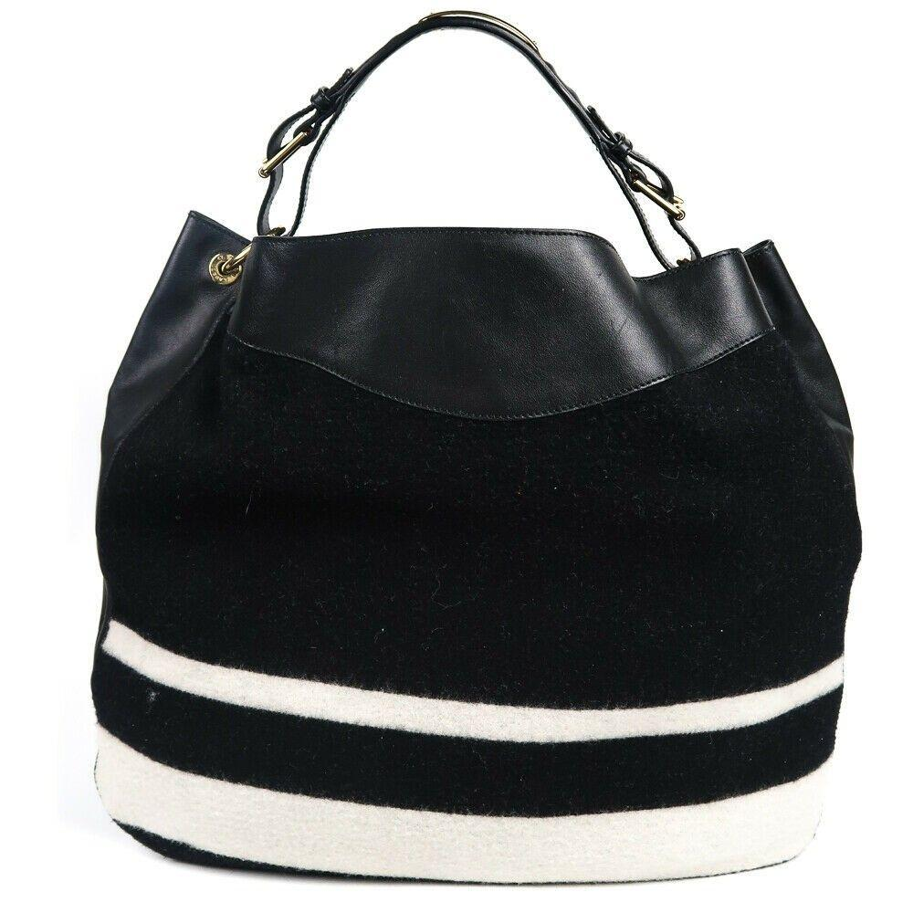 Ralph Lauren - NEW - XL - Wool & Leather Black Hobo