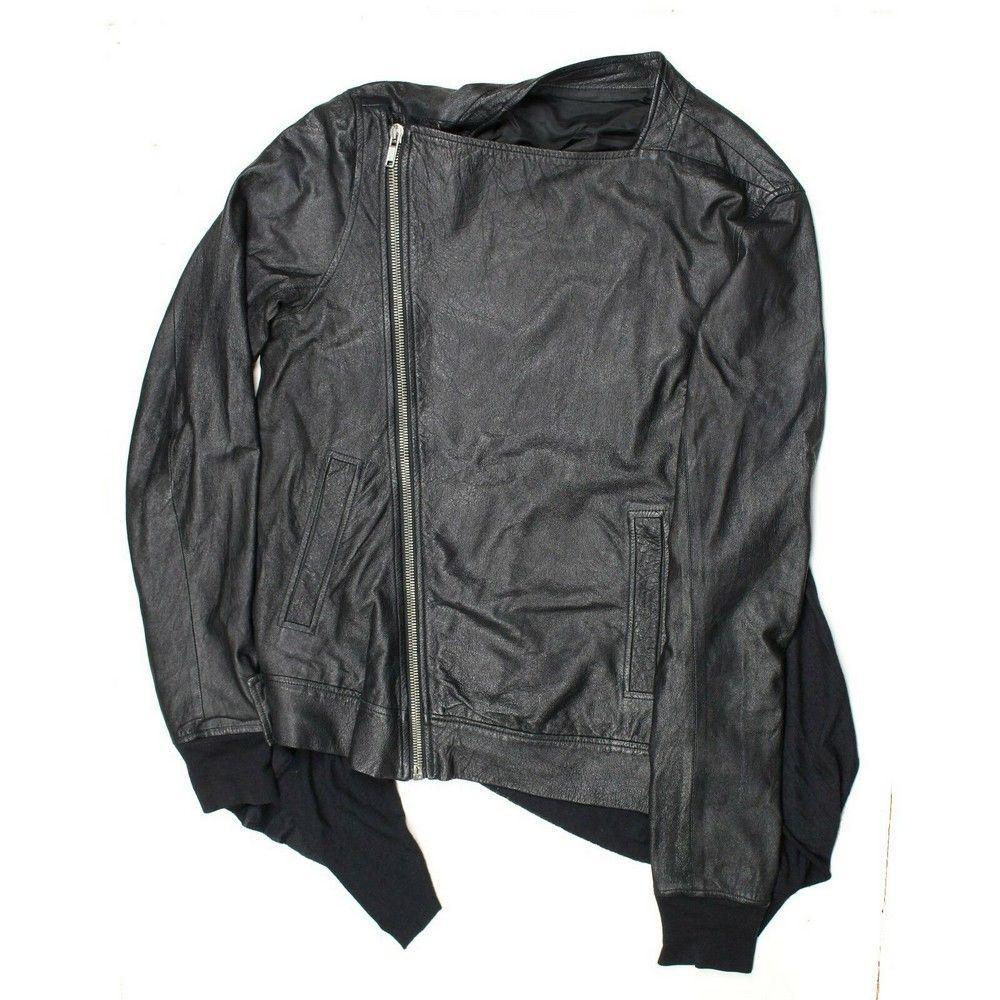 Ralph Lauren Black Label - New - Black Leather Motorcycle Jacket Coat - US 12
