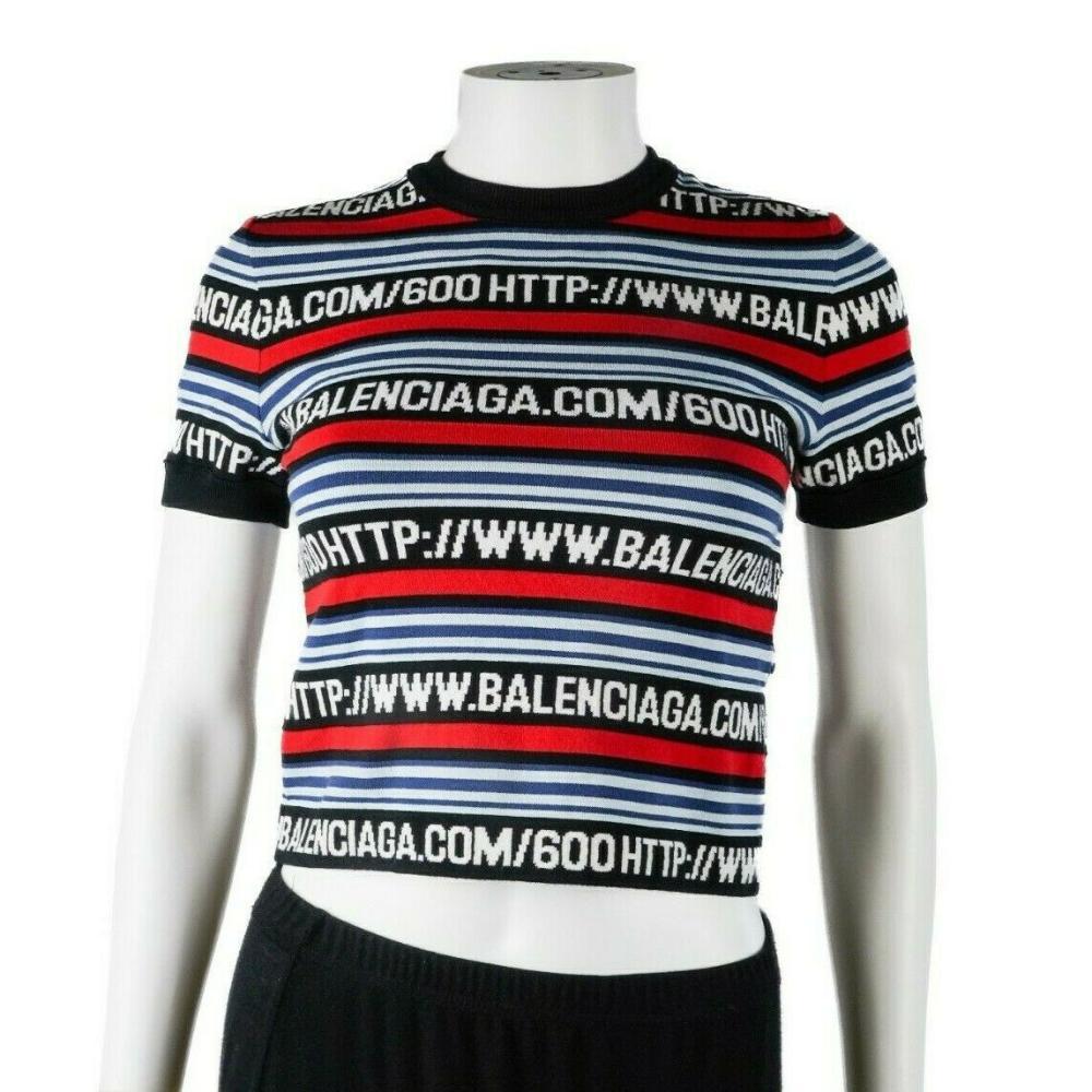 Balenciaga New 2016 Logo Top - Striped Cropped Red Black Blue Logo-Knit US 2 34