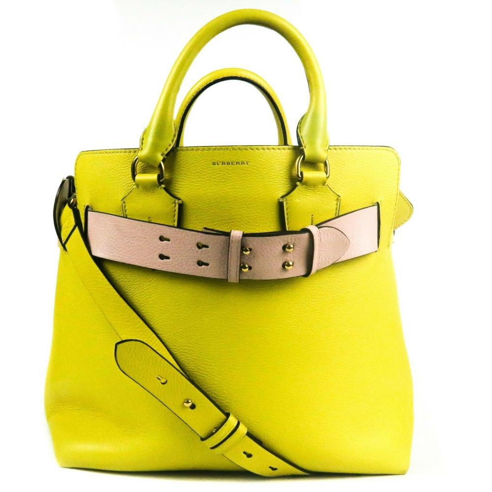 Burberry - Yellow Leather Tote Bag - Blush Pink Belt Detail - Large