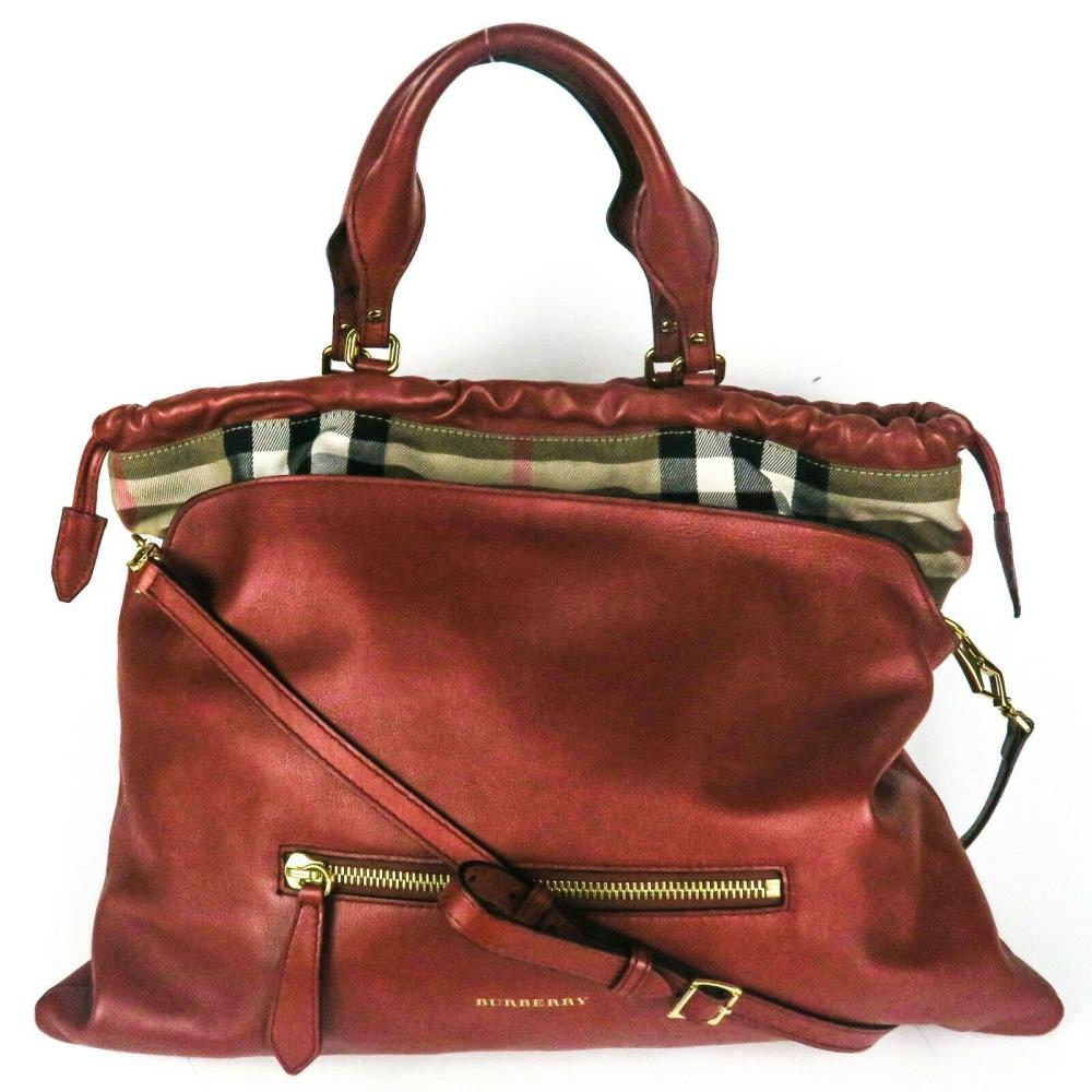 Burberry - Large Red Leather Shoulder Tote Bag - Plaid Trim - Front Zip Pocket