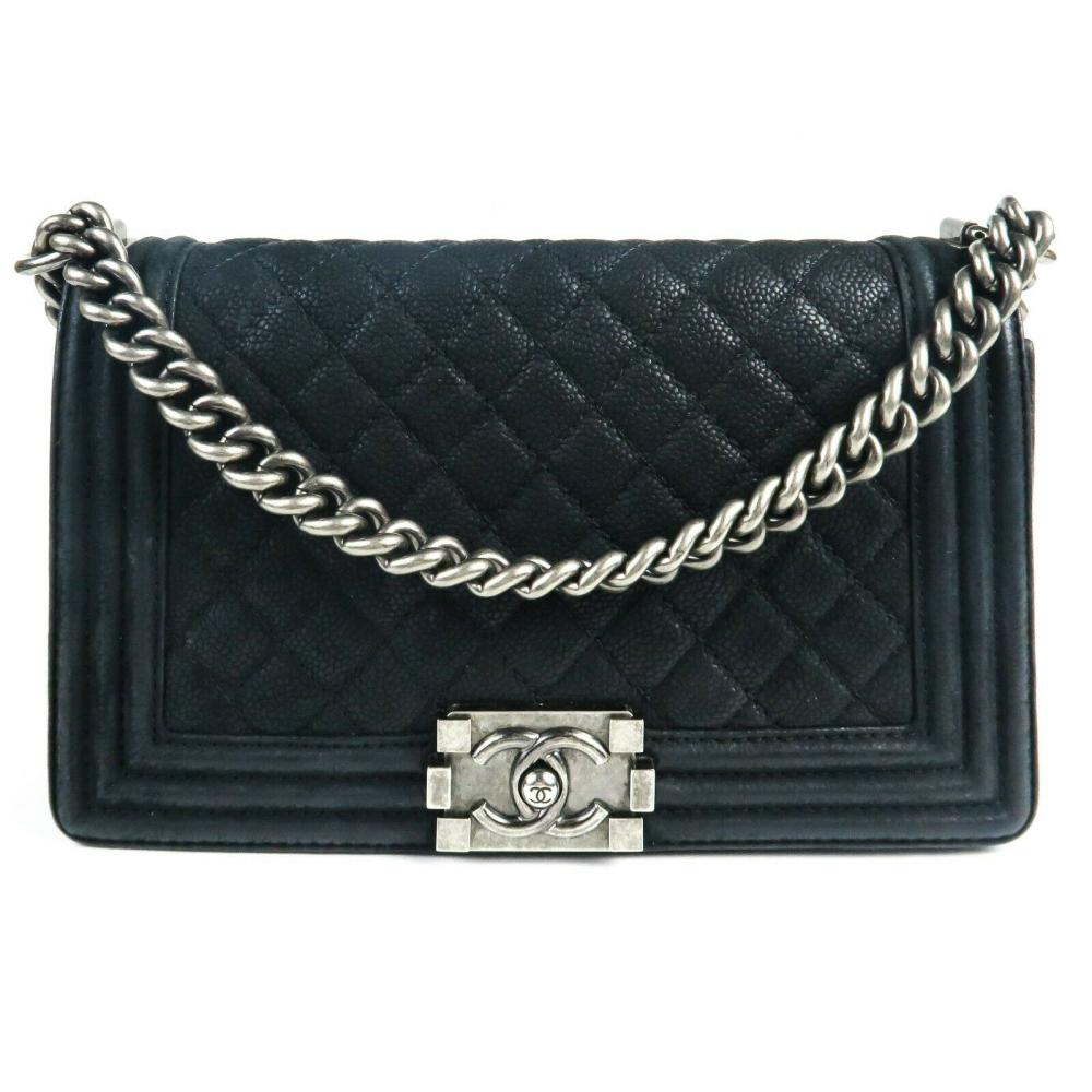 Chanel Caviar Boy Black Leather Shoulder Bag - CC Medium Silver Quilted Flap