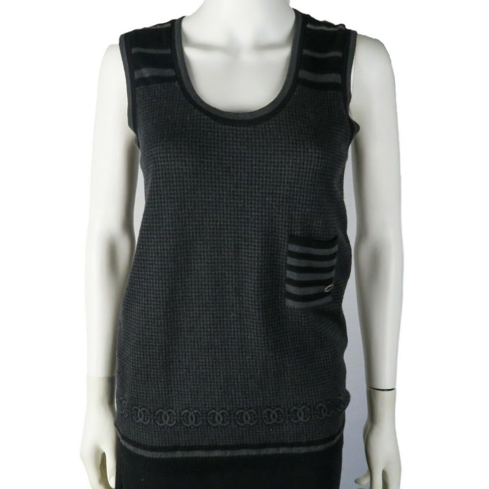 Chanel - Cashmere CC Logo Top - Black and Gray Tank - Logo - 38 - US 6