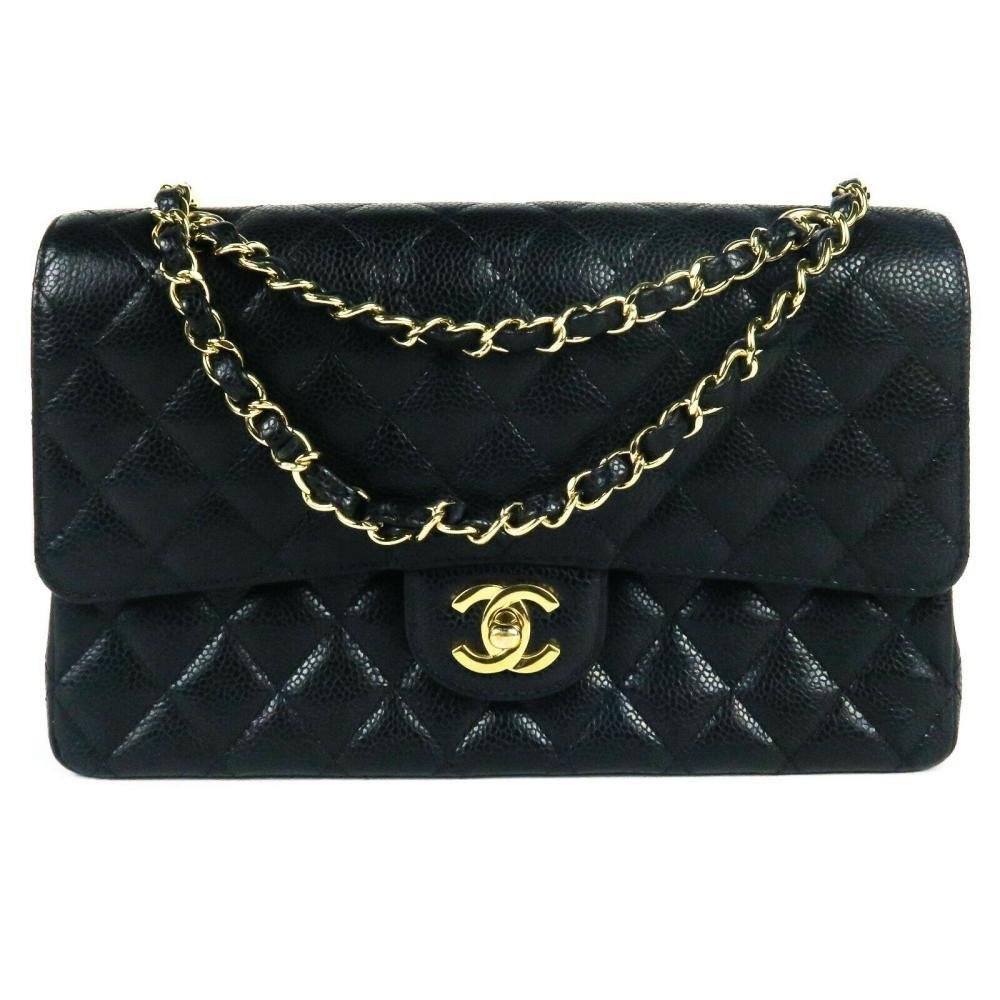 Chanel - Caviar Medium Flap Bag - Black Quilted CC Gold Double Flap Shoulder