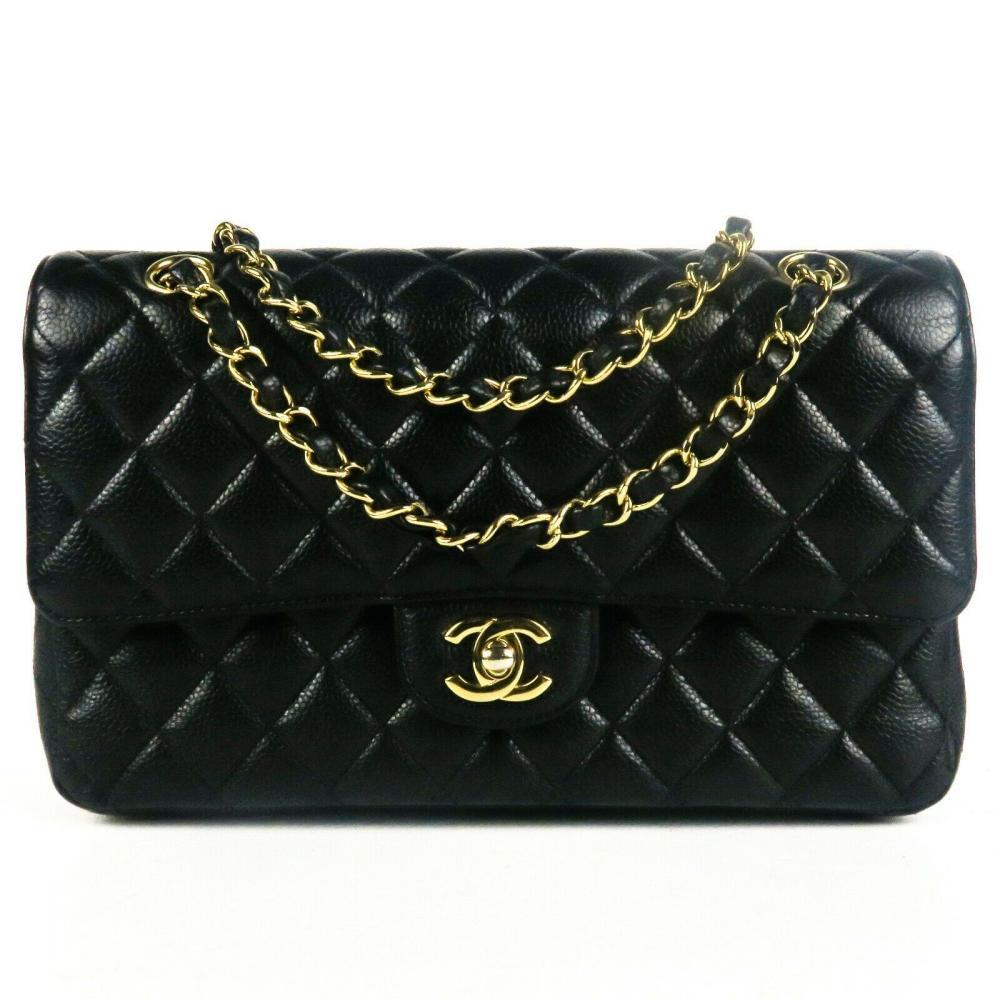 Chanel 2017 Caviar Medium Black Double Flap Shoulder Bag - CC Gold Quilted
