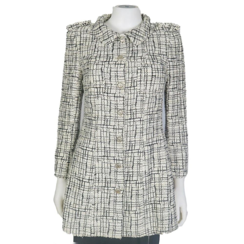 Chanel - Jacket - Long Tweed Black White Lightweight Coat - US 8 - 40 - 06C