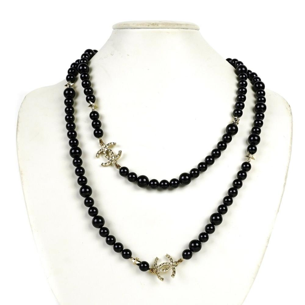 """Chanel - New - Black Pearl Star Necklace - 42"""" Long - C"""