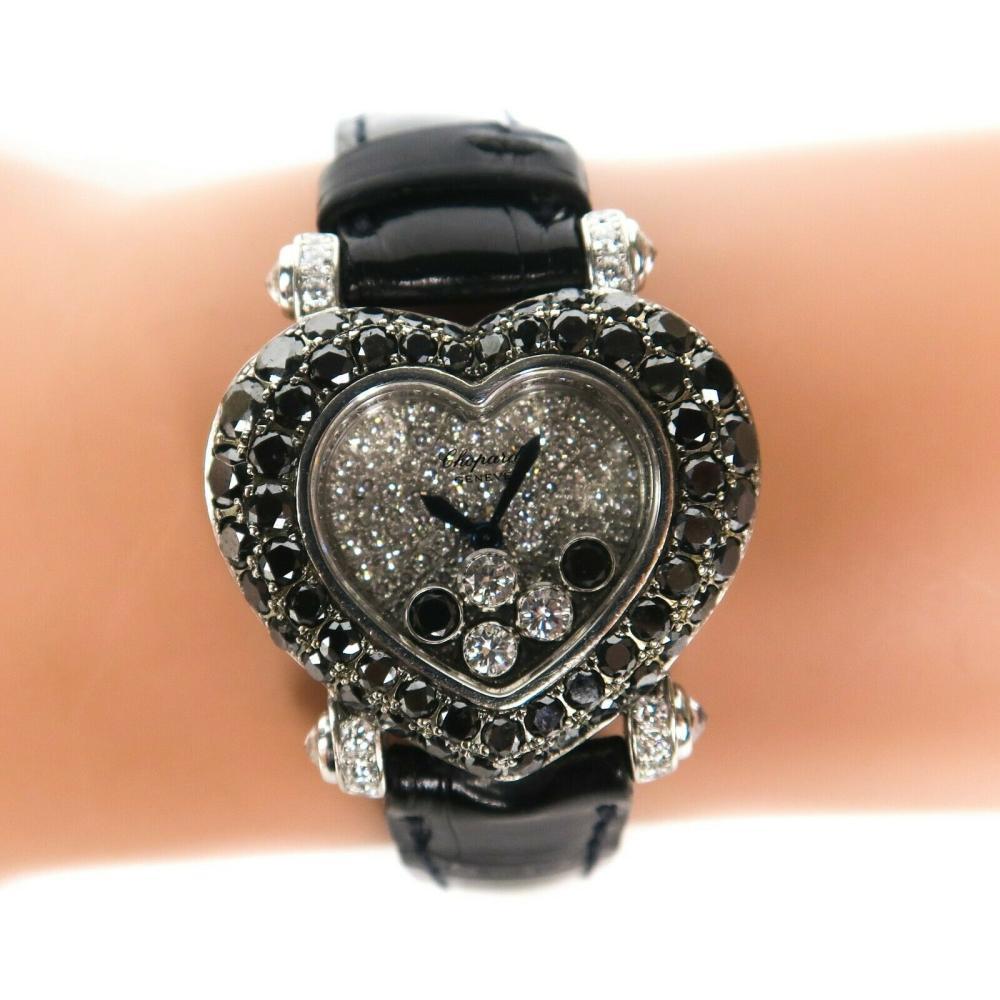 Chopard Happy Bracelet - Diamond 32mm Heart Watch Womens Black Alligator Band