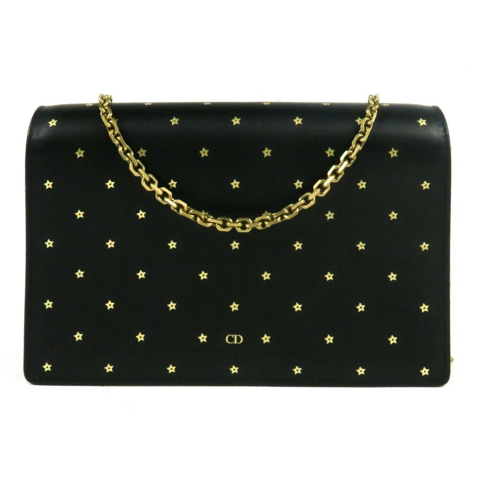 Christian Dior New Star Wallet on a Chain Small Black Leather Crossbody Gold Bag