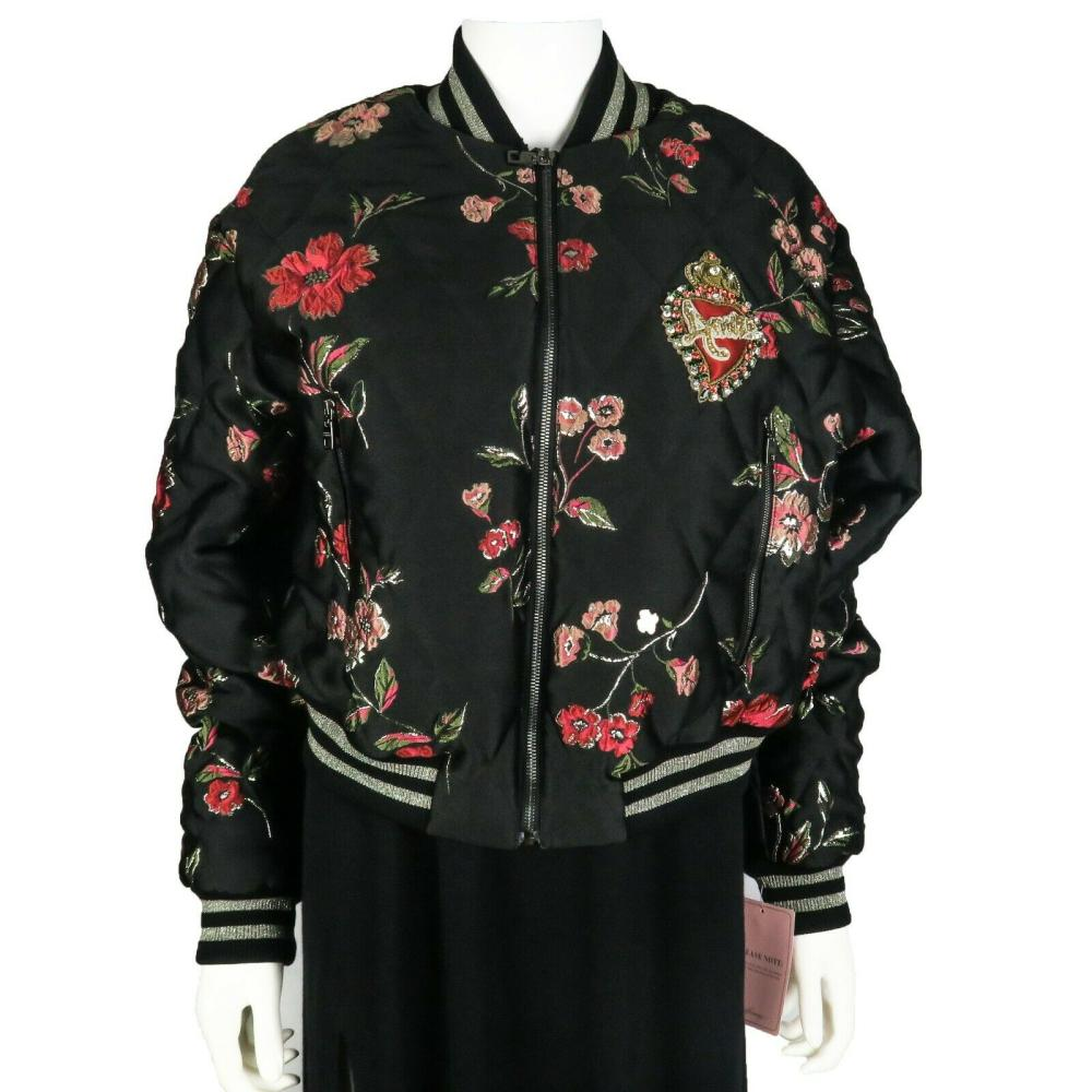 Dolce & Gabbana New Bomber Jacket - Floral - Heart Embroidered - US 10 - 46
