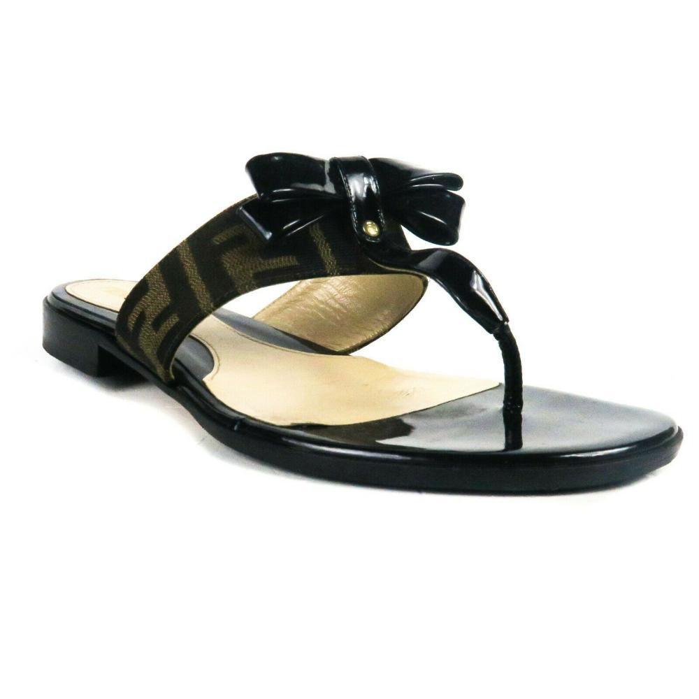 Fendi - FF Logo Sandals Flats - Black Bow Shoe Brown Print Strap - US 6.5 - 36.5