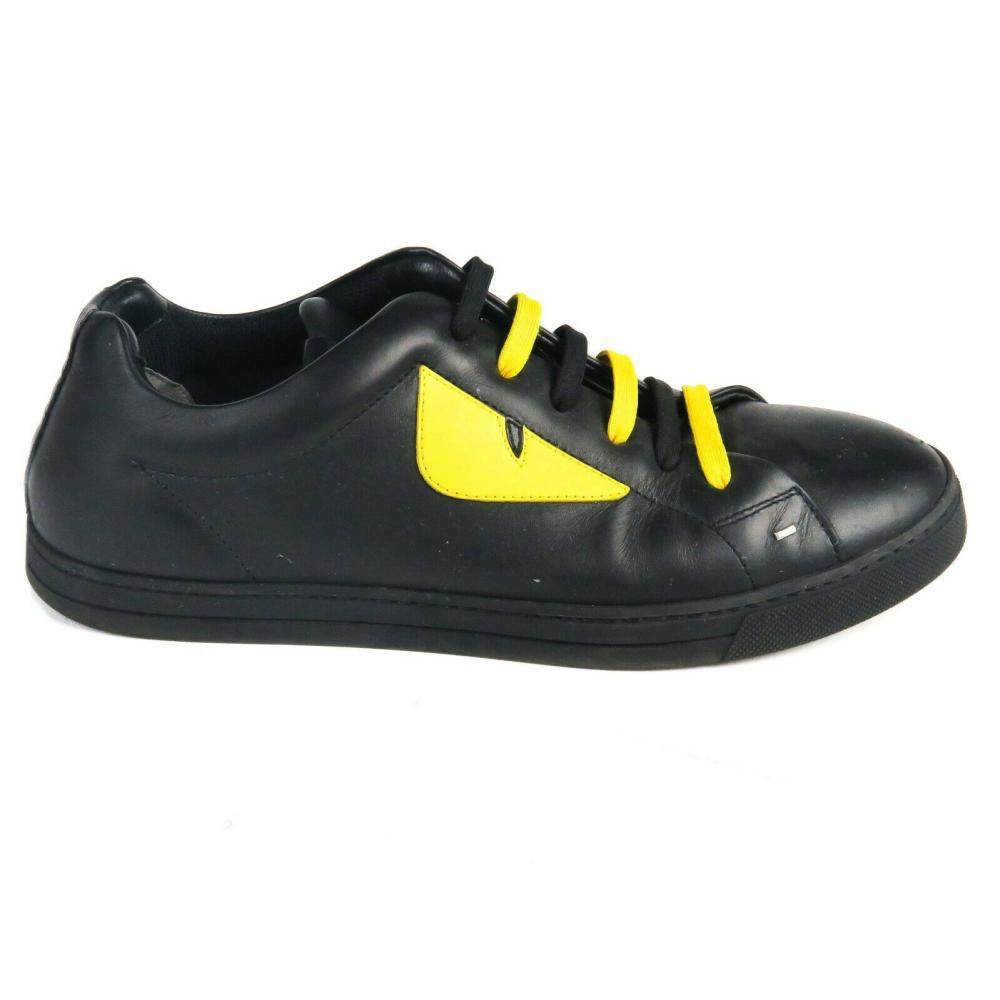 Fendi - Monster Sneakers - Eye Leather Low Top - Black Yellow - US Mens 7