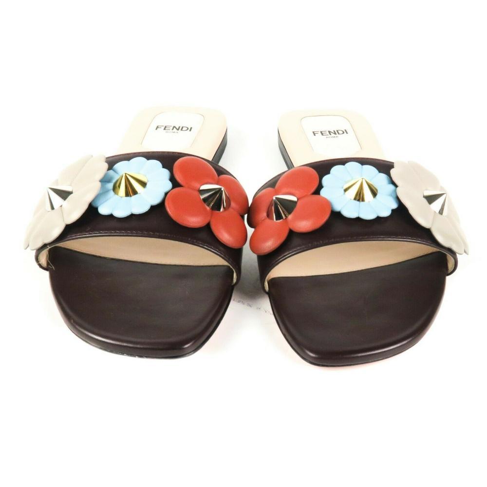 Fendi - Floral Stud Sandals - Slides - US 6 - 36 Shoes Brown Leather