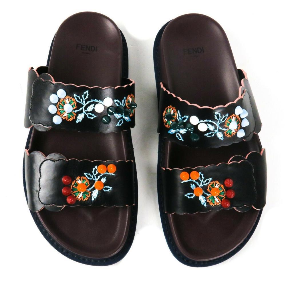 Fendi Floral Stud Sandals - US 6 - 36 - Multicolor Shoes Black Straps