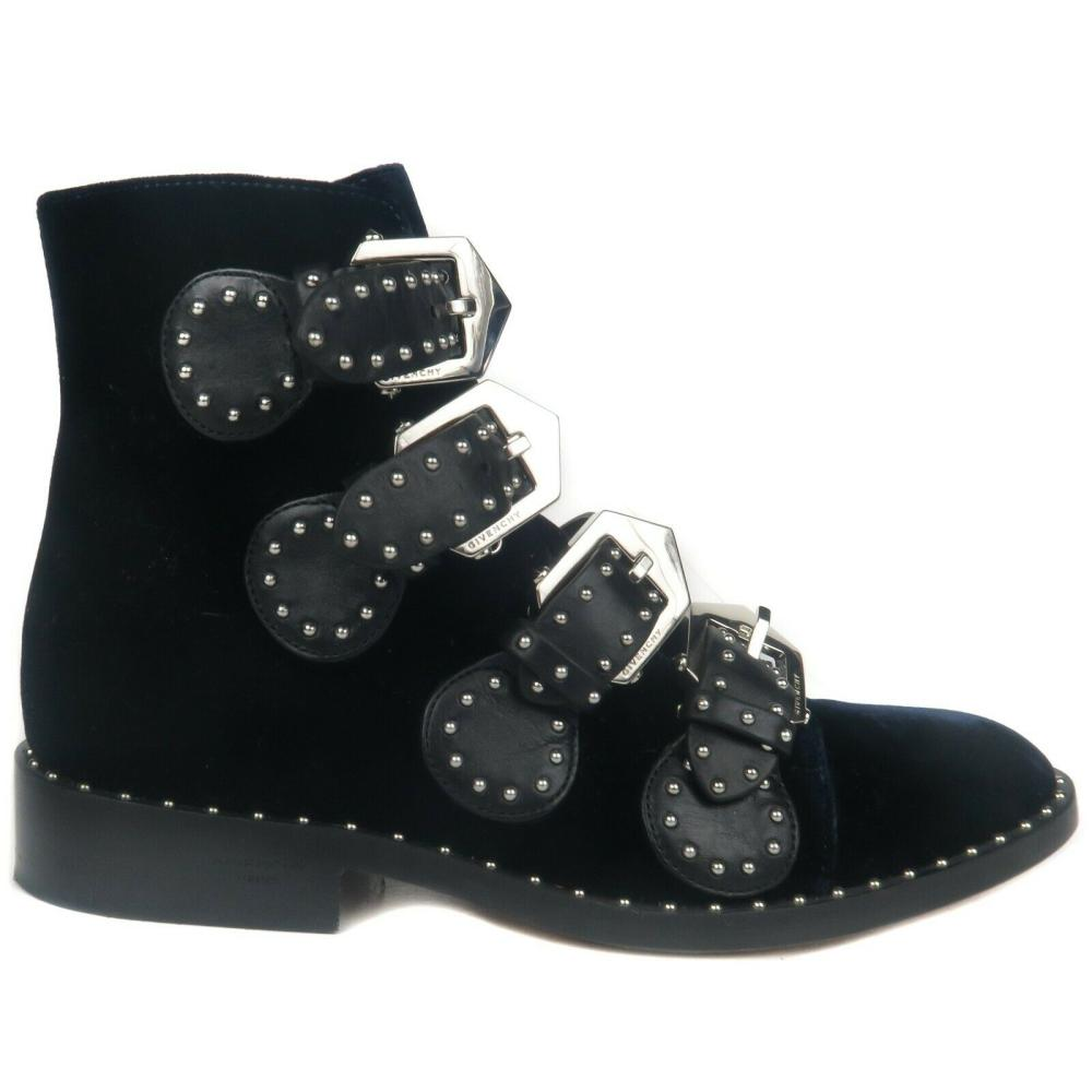 Givenchy Boots - Blue Velvet Stud Strap Shoes Womens Elegant - US 6 - 36