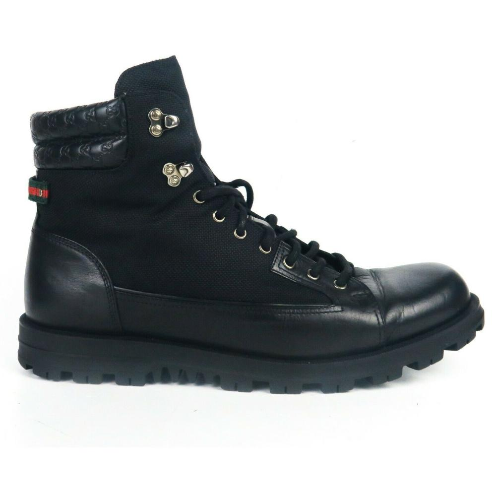 Gucci - Black Boots Marland Leather - Lace-Up - Men's Sneakers - IT 13.5 - US 14