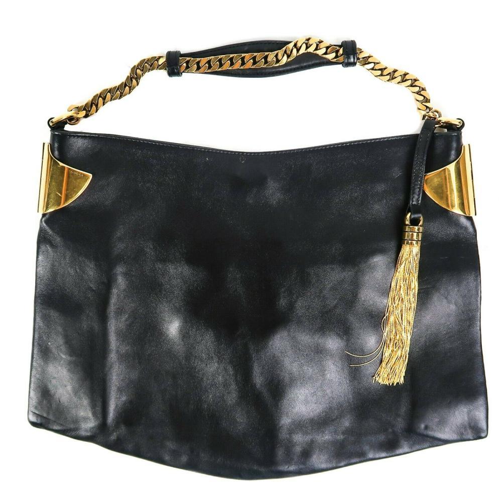 Gucci - 1970 Tassel Medium Hobo Shoulder Bag - Black Leather Gold Chain Handbag