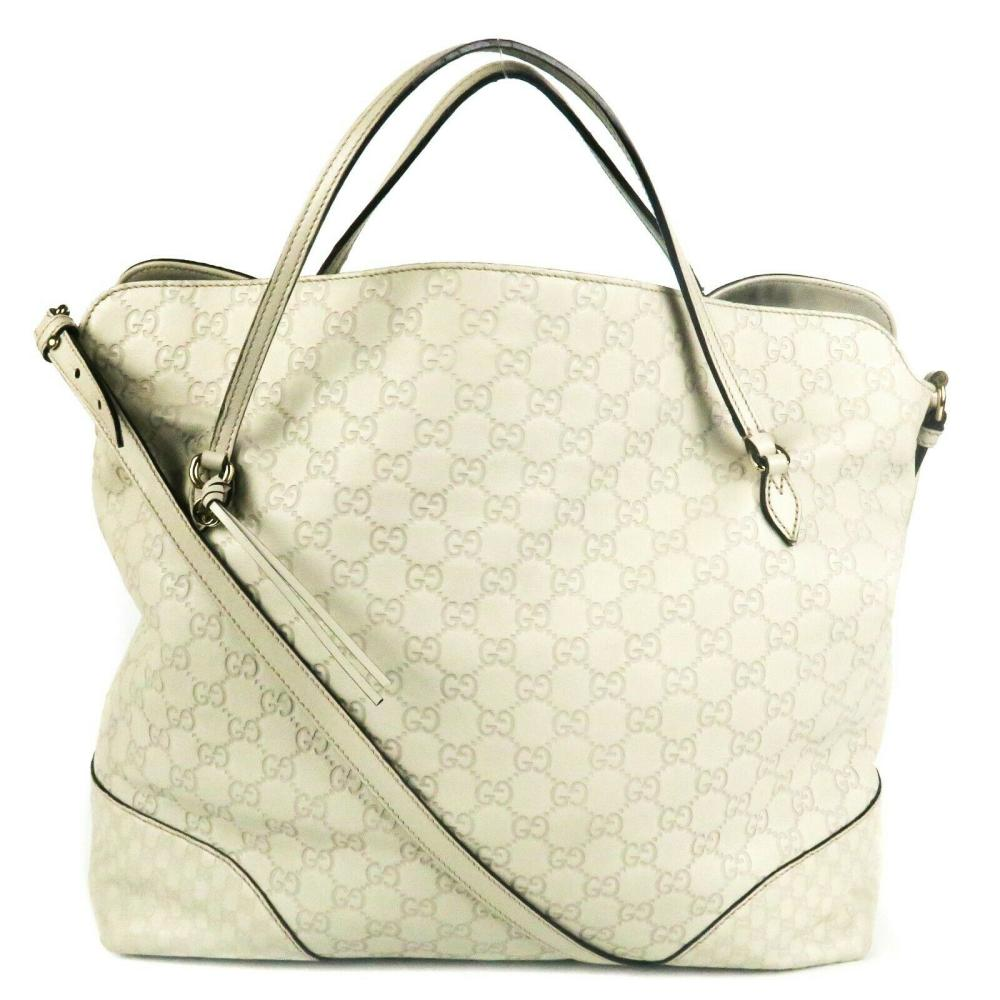 Gucci - Leather GG Shoulder Large Bag - Monogram Guccissima Logo Cream Tote Bag