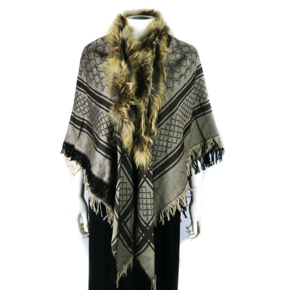 Gucci Fur Scarf - Tan GG Monogram Tassle - Wool Silk