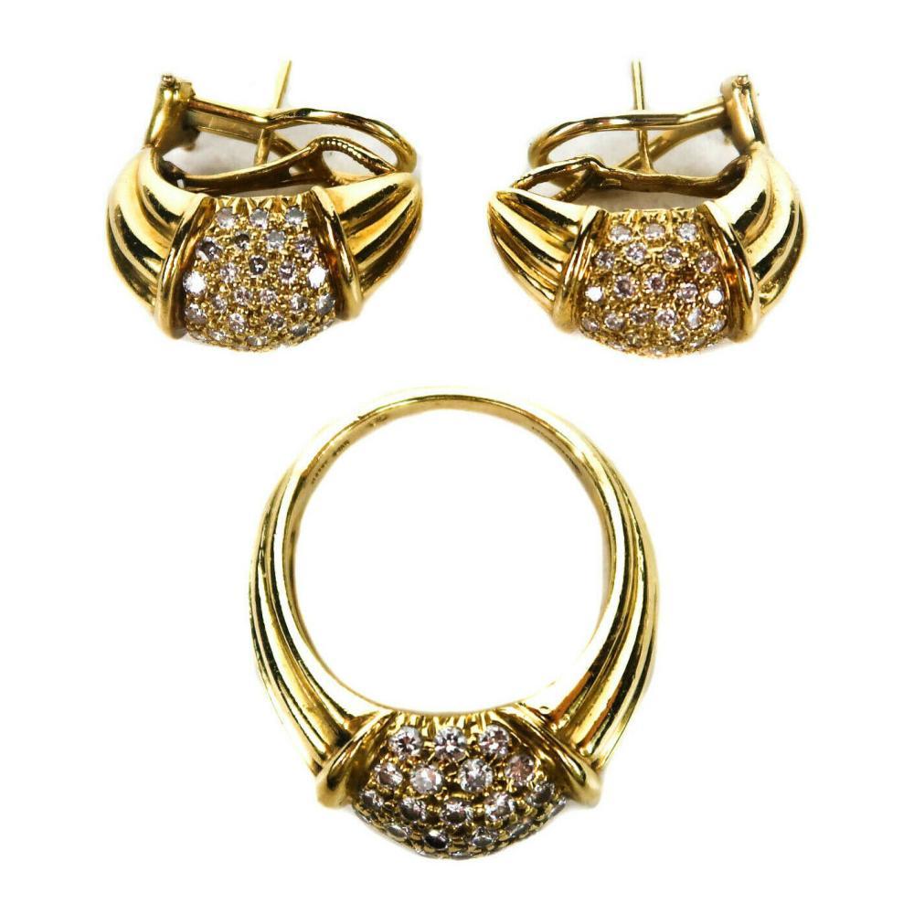 Harry Winston - Diamond Ring & Earrings Set -18K Gold - Band Size 5.5