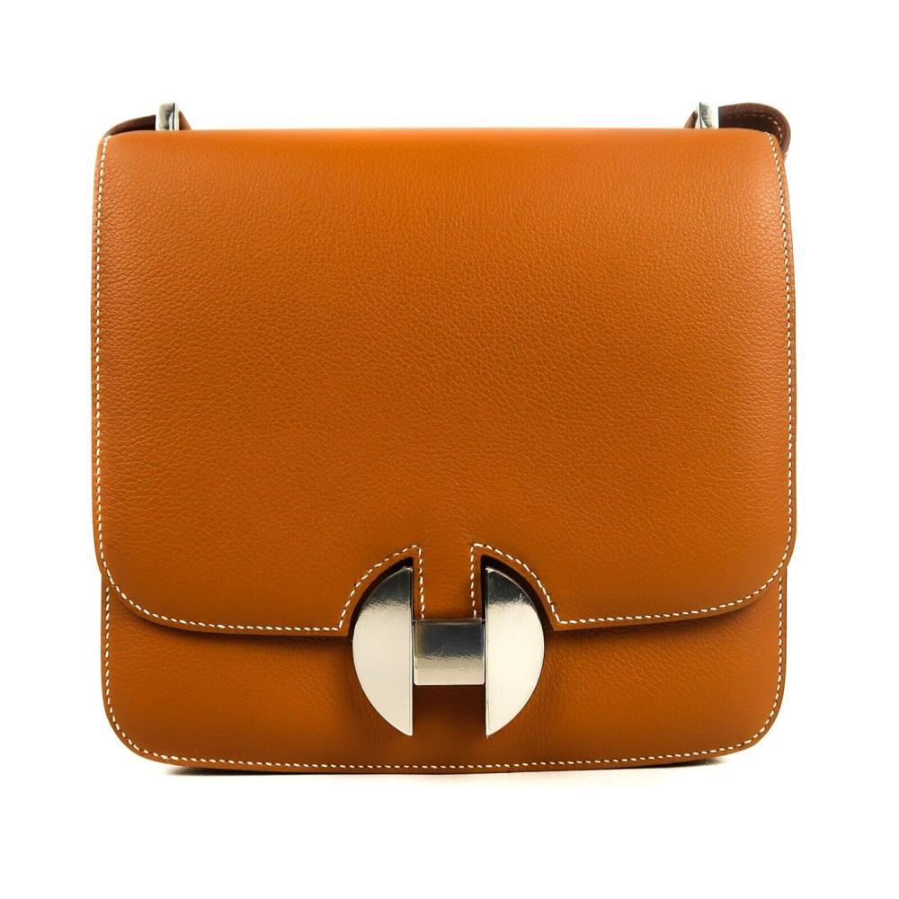 Hermes 2018 New 2002 H Flap Bag - 20 cm Brown Gold Tan
