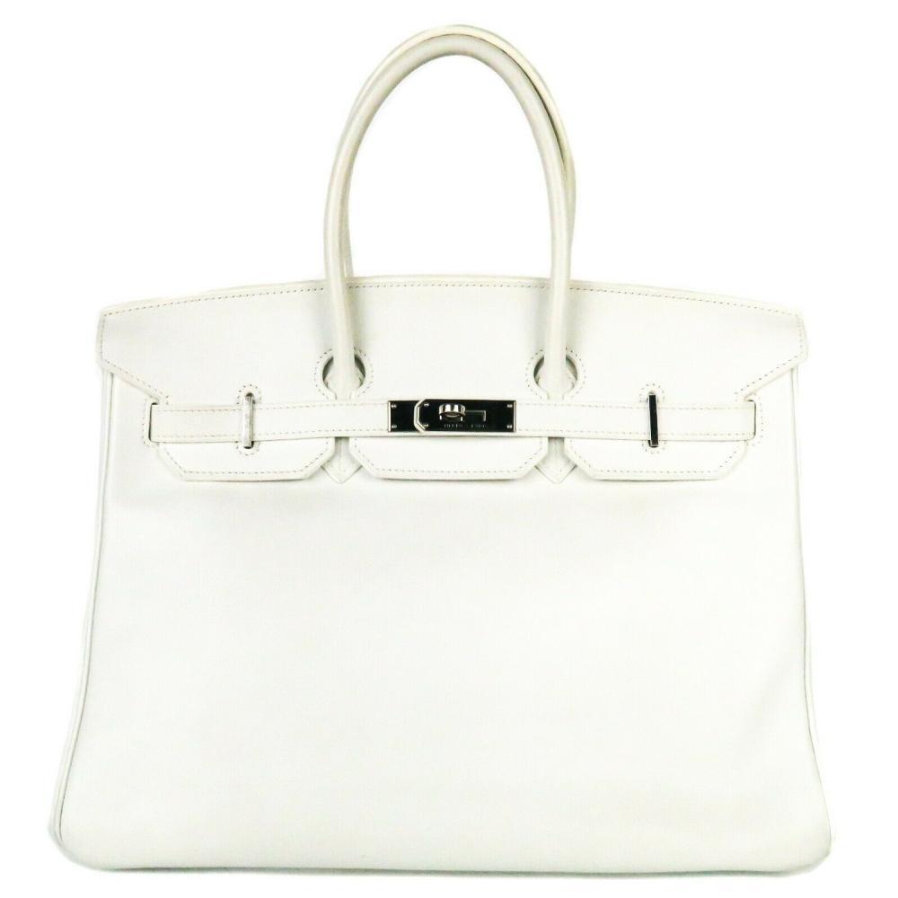 Hermes - White Birkin Bag - 35 cm - Silver Tote Handbag