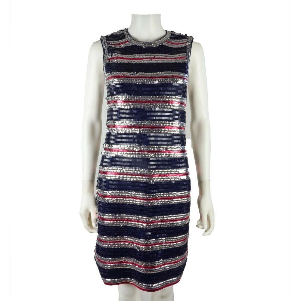 Lanvin $3500 Sequin Stripe Dress - Red Navy Silver Sparkle Sleeveless - Size S