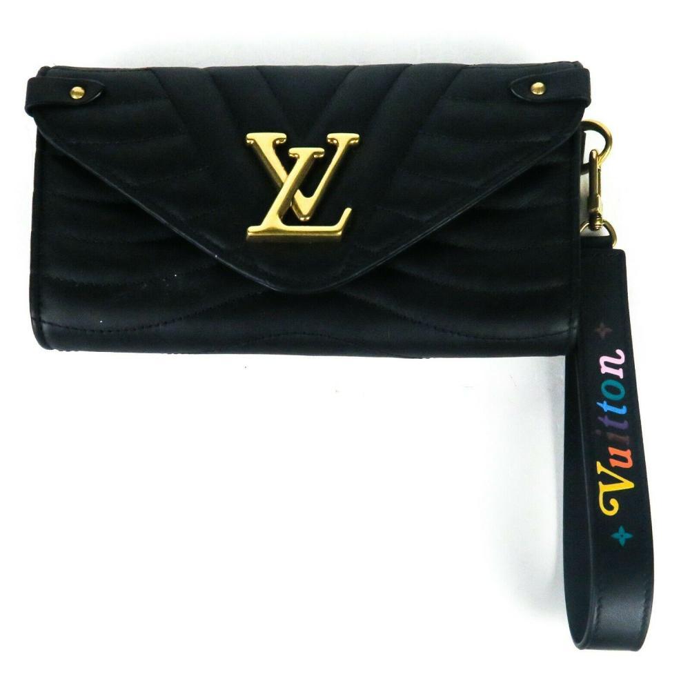 """Louis Vuitton """"New Wave"""" Long Wallet Clutch Detachable Wristlet Black Rainbow"""