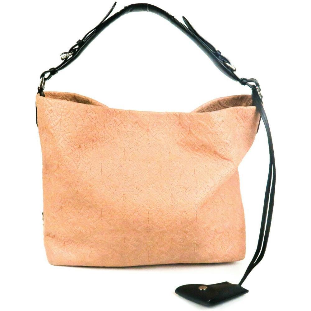 Louis Vuitton - Pink Leather Embroidered Monogram Logo Fumee Hobo Shoulder Bag