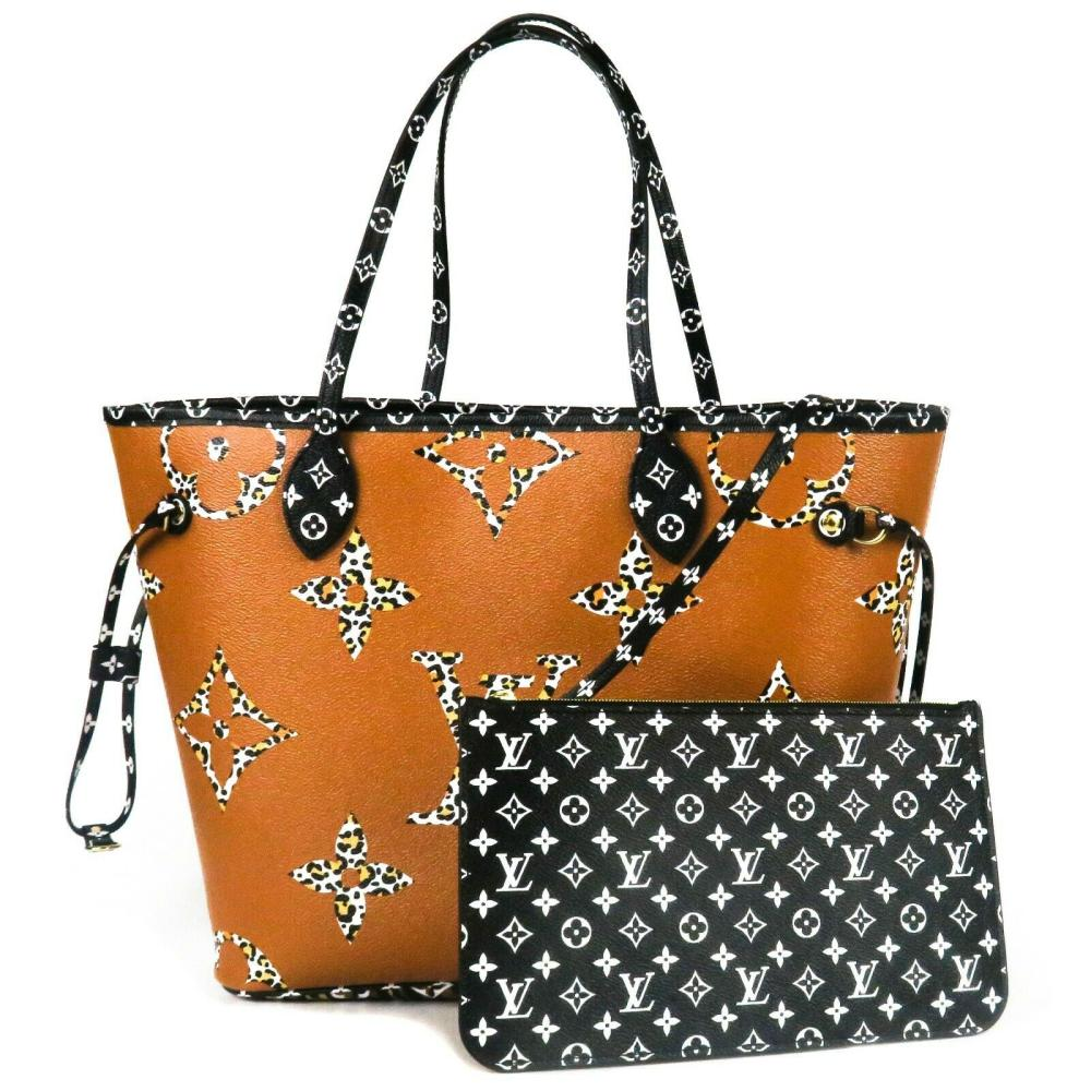 Louis Vuitton New Jungle Neverfull Leather Tote Bag Wallet Pouch - Black Orange