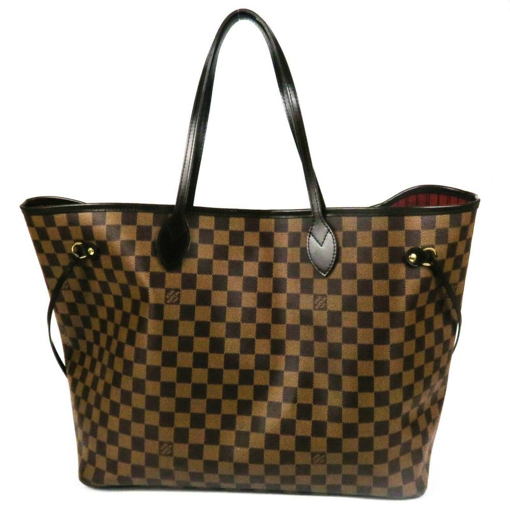 Louis Vuitton Neverfull w/ Pouch Brown Damier Leather Tote Bag Wallet Red Large