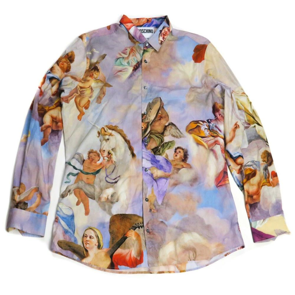 Moschino Cherub Shirt - Print - Cotton Button Down - US 17.5 - XL