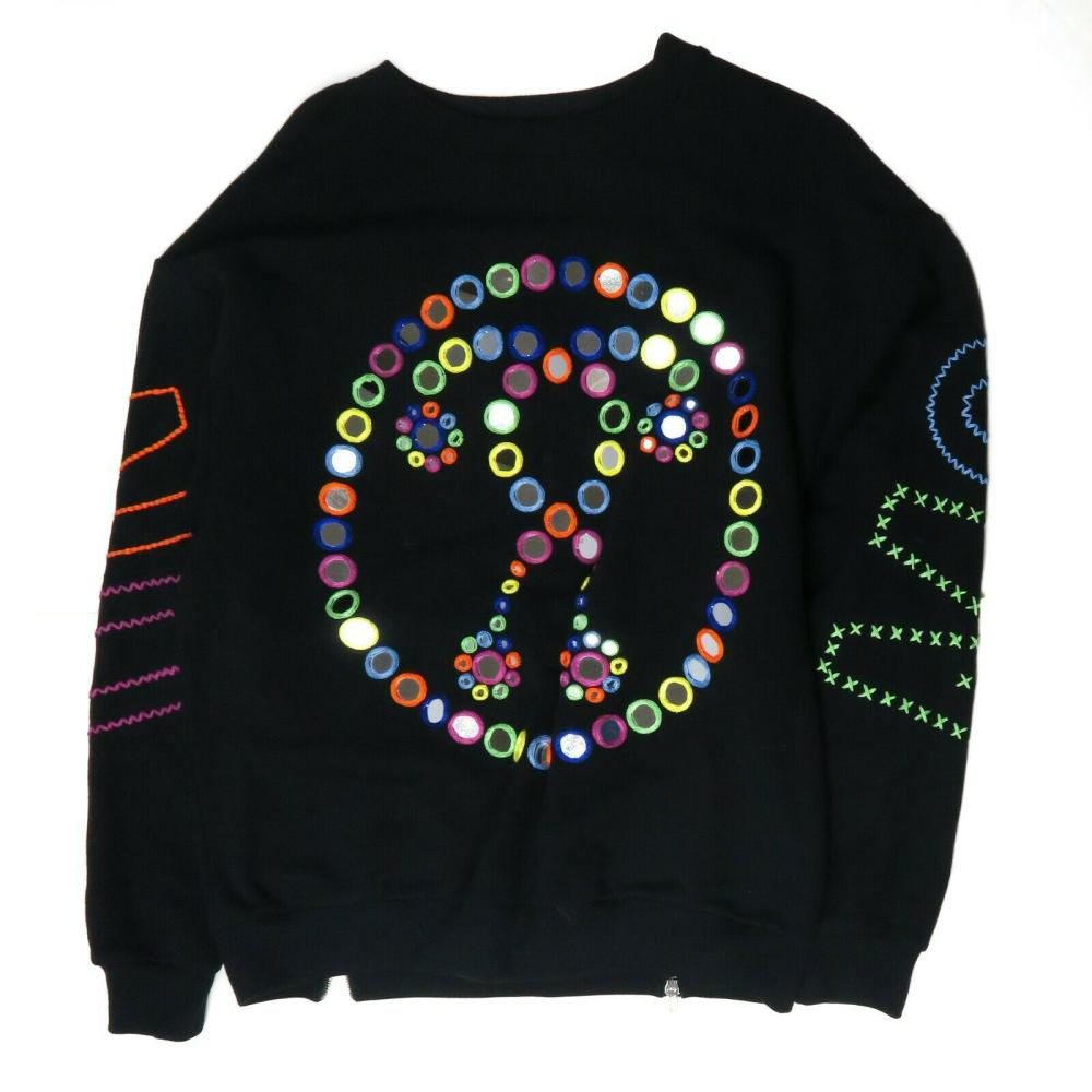 Moschino - Mens Black Crewneck Sweatshirt Multi-Color Peace Sign Logo L - Large