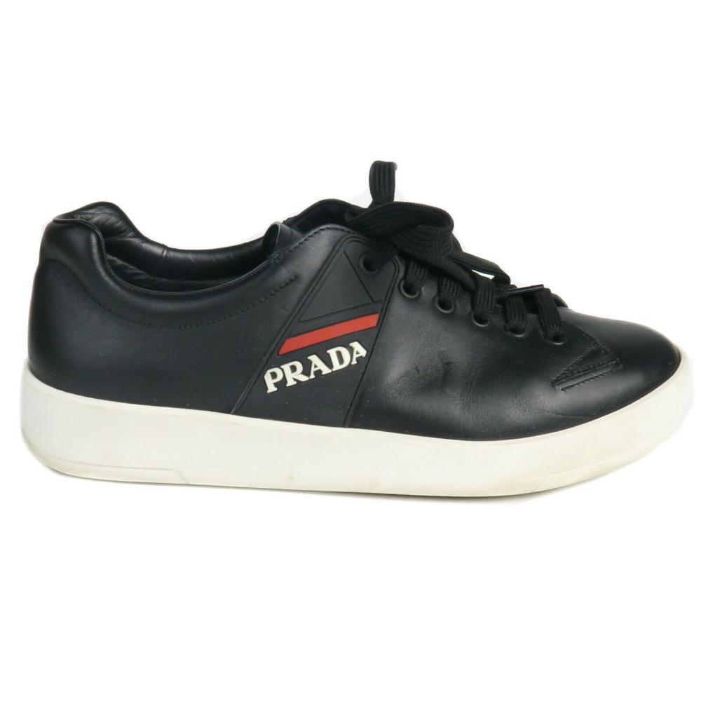 Prada - Mens Black Low Top Sneakers - Red / White Logo - US 7 - IT 6
