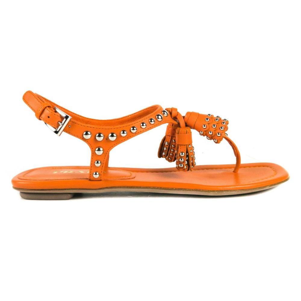 Prada - New - Stud Sandals - Tassle Orange Leather - US 6.5 - 36.5 Shoes