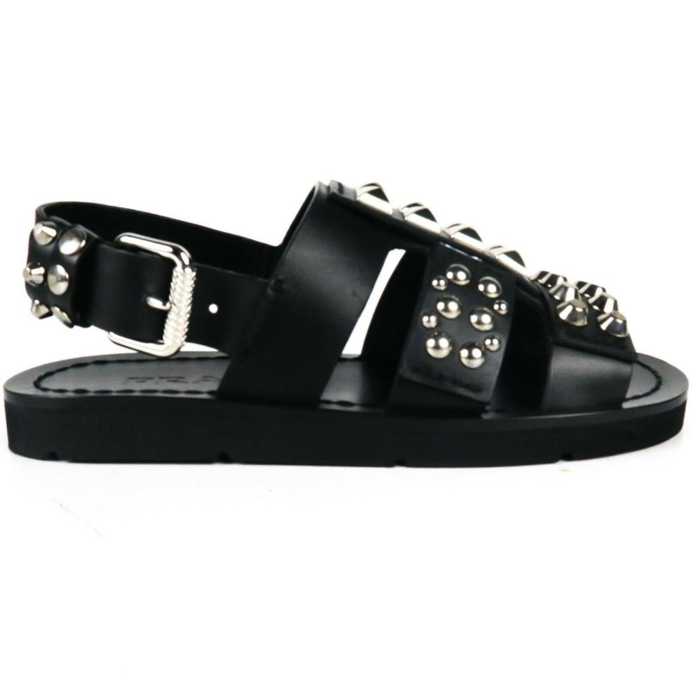 Prada - New - Black Stud Sandals - Buckle - Flats - Leather - US 6 - 36 Shoes