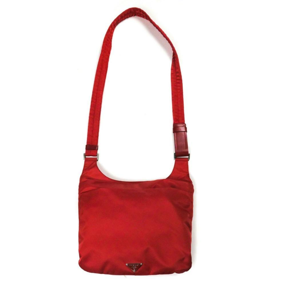 Prada New Unisex Messenger Red Nylon Bag - Sling Back Shoulder Tessuto Logo