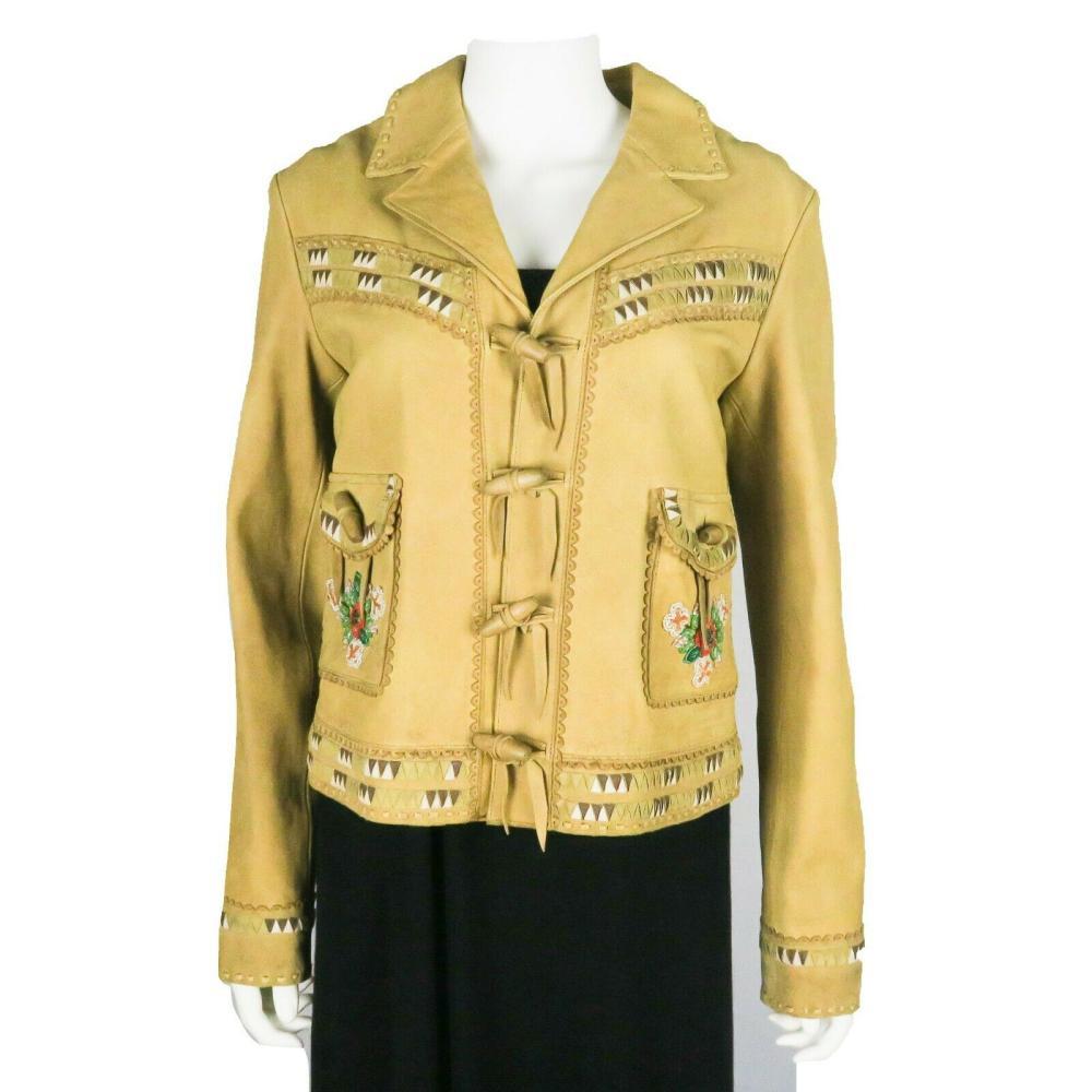 Ralph Lauren - New - Suede Leather Jacket - Tan Western - Beaded - US 12